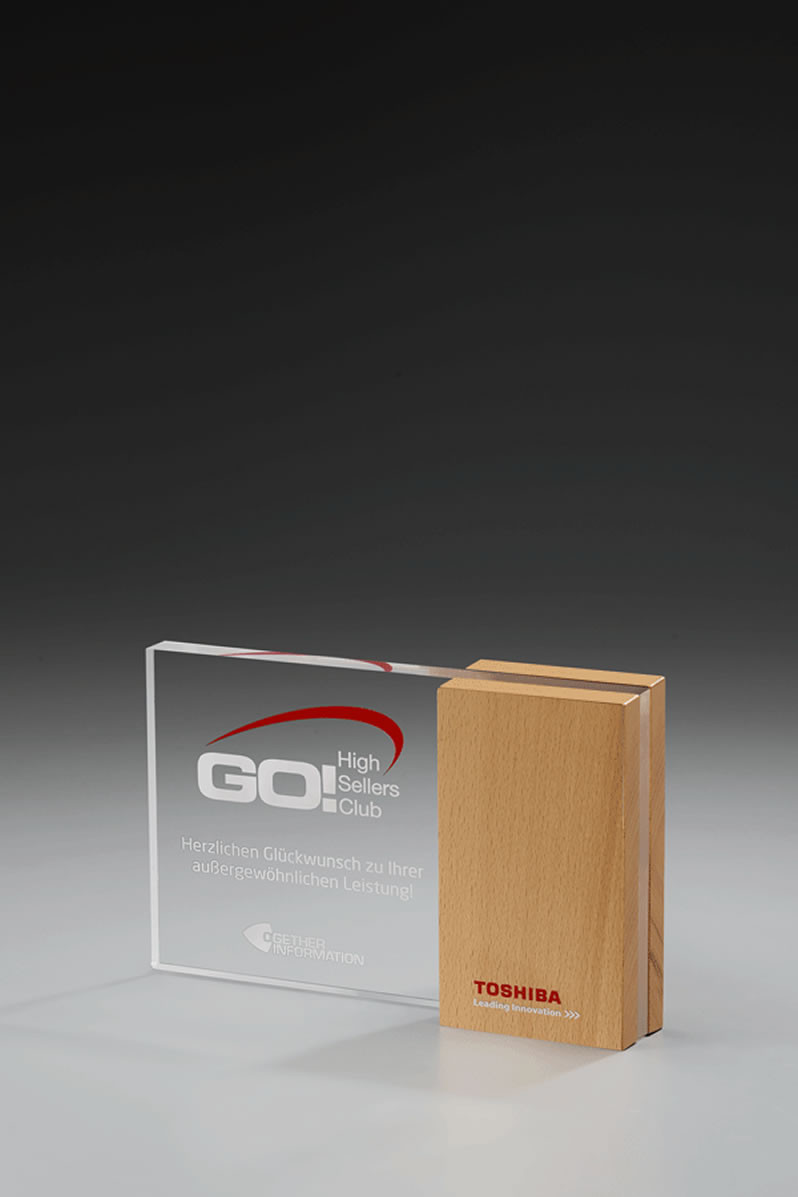 Acrylglaspokal Wooden-Side-Award